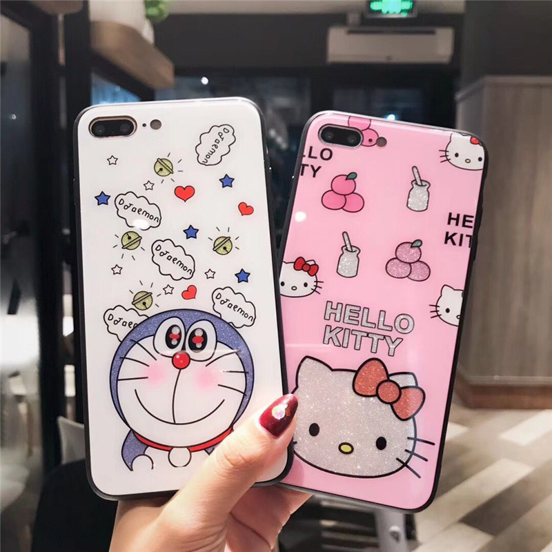 Luxury Cartoon Hello Kitty Phone Case For iphone 7 Coque Cute Glossy Soft Silicone Back Cover For iphone X 6 6s 7 8 Plus Cases