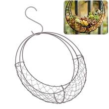 Moon Shape Iron Wire Wreath Metal Frame Succulent Pot S Shape Hanging Basket Plant Flower Holder Wedding Home Cafe Decor(China)