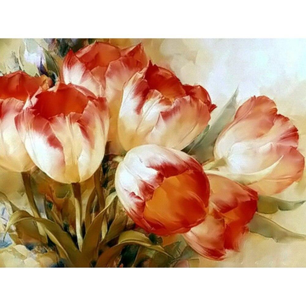 Yeni 3d Dikiş Nakış Elmas çiçekler Lale Boyama 100 Tam Kare