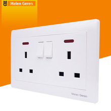 Universal Wall Socket Dual Plug Power Socekt Switch Push Button Panel UK Plug 13A AC 250V Electrical Outlet With LED Indicator coswall wall power socket 13a universal 3 hole outlet switched with red neon indicator