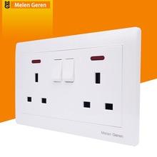 цена на Universal Wall Socket Dual Plug Power Socekt Switch Push Button Panel UK Plug 13A AC 250V Electrical Outlet With LED Indicator