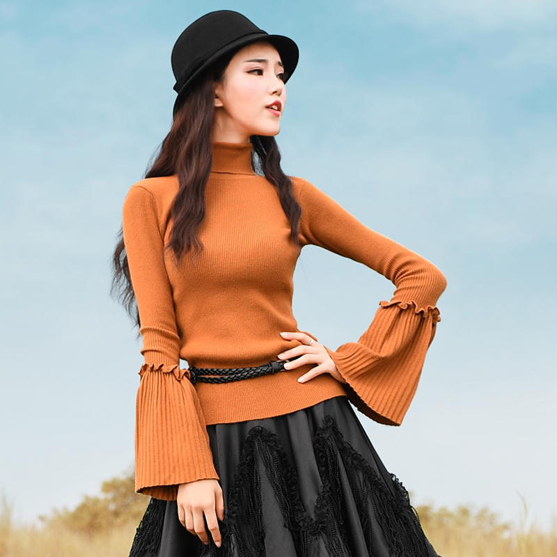 Jessica s Store Spring Autumn Women Fashion Turtleneck Flare Sleeve All Match High elastci Knitting Shirts