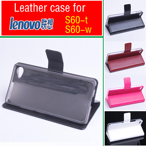 For Lenovo S60 S60-t S60-w case cover, Good Quality Leather Case Wallet + hard Back cover For Lenovo S 60  cellphone