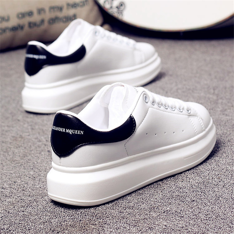 D KNIGHT Brand Women Casual White Shoes 2019 Spring Winter Women Flats Platform Shoes Fashion Lace-Up Women Sneakers Big Size 44 (12)