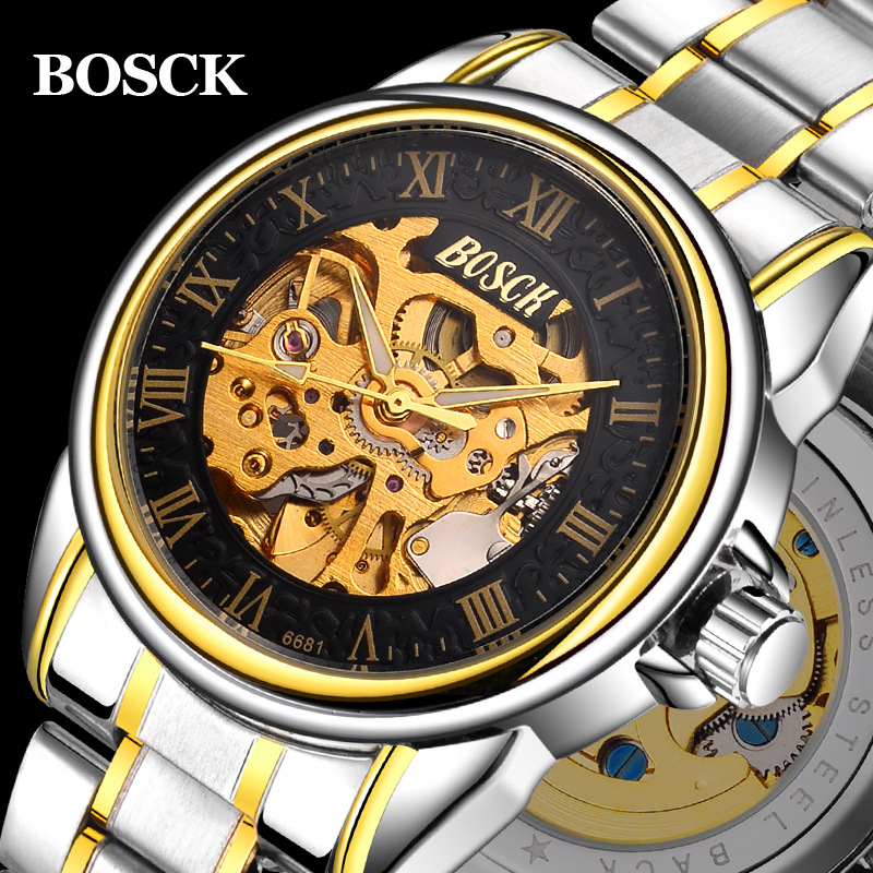 BOSCK Fashion Casual Black Dial Golden Case Designer Men Watches Top Brand Luxury Automatic Skeleton Luxury Watch Mens Clock Men forsining mens watches top brand luxury golden men mechanical skeleton watch mens sport watch designer fashion casual clock men