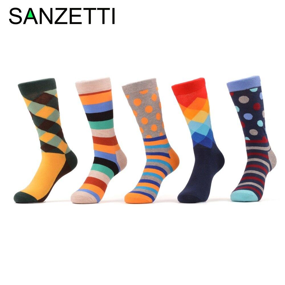 SANZETTI 5 pair/lot Men's colorful s