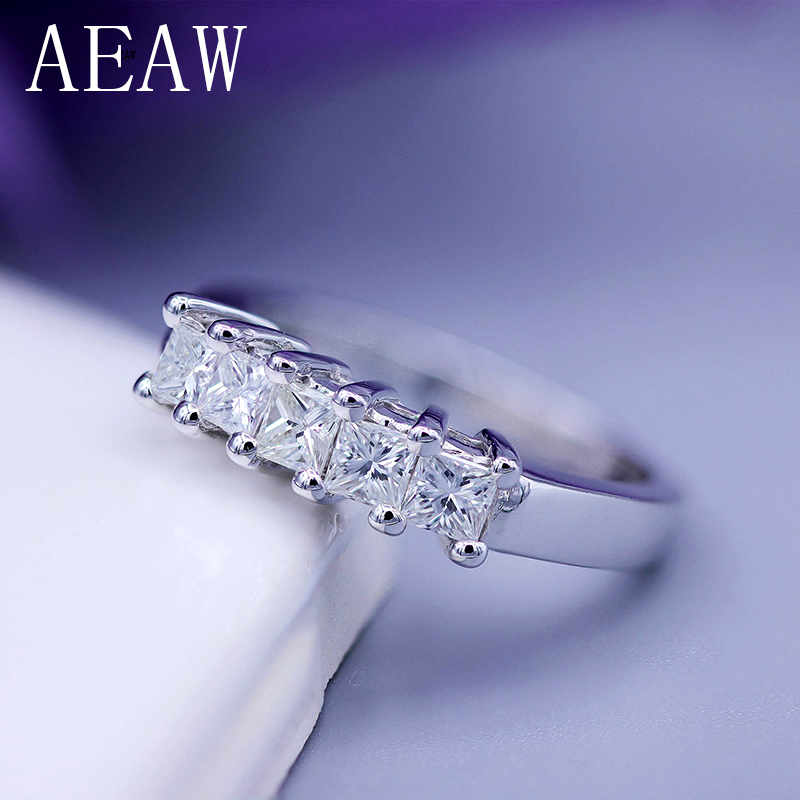 AEAW 5x2mm Princess Cut Certified Moissanite Engagement Band Solitaire Ring in 925 Sterling Silver or 14K