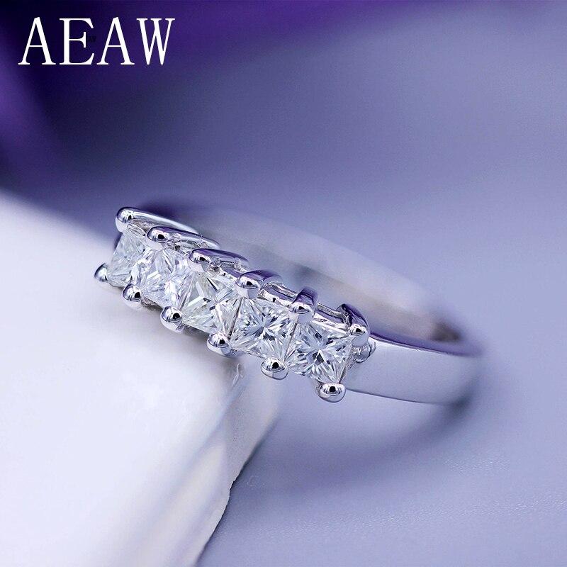 AEAW 5x2mm Princesse Cut Certifié Moissanite Fiançailles Band Bague Solitaire en 925 Sterling Argent ou 14 k or blanc Pour Les Femmes
