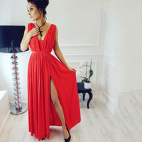 Womens Dresses New Arrival 2017 Summer Ukraine Floor Length Vintage Maxi Party Beach Dress Red Black