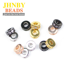 ФОТО jhnby 4pcs coin copper spacer beads 7.5mm flat round pave cz charms gold loose beads for jewelry bracelet making diy accessories