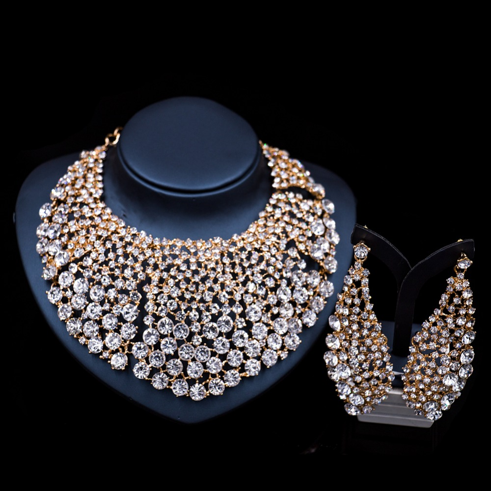 jewelry cz crystal wedding necklace earrings cubic media rhinestone zirconia set bridal