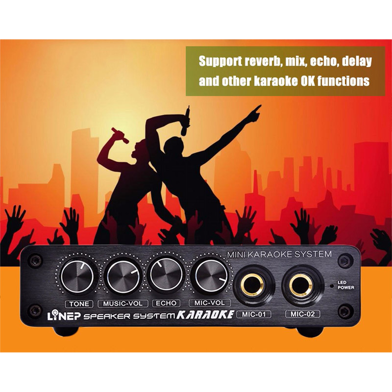 Newly Mini Karaoke Sound Console Stereo Mixer Microphone Effector Preamplifier Amplifier US Plug felyby karaoke mixer tv k song k song karaoke tv karaoke multi functional analog sound console