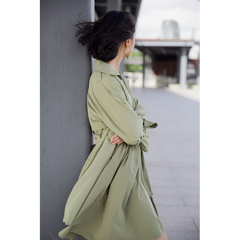 Casual Verde Oliva Diseño Mujer Suelto Botonadura Original Primavera Otoño Sola Una Chinoiserie Delgada De U7W4gp6n