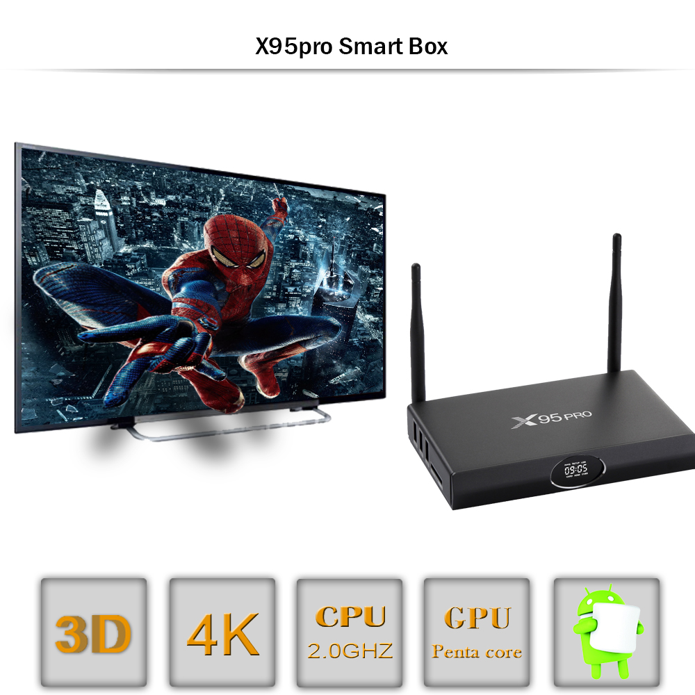 X95 Pro Android 7.1 TV Box Amlogic S905X 2G RAM 16G ROM 4K Ultra HD 3D Smart TV Boxes Remote Controller Bluetooth Kodi loaded x9 pro amlogic s905x 2g 16g 4k tv box tronsmart tsm01