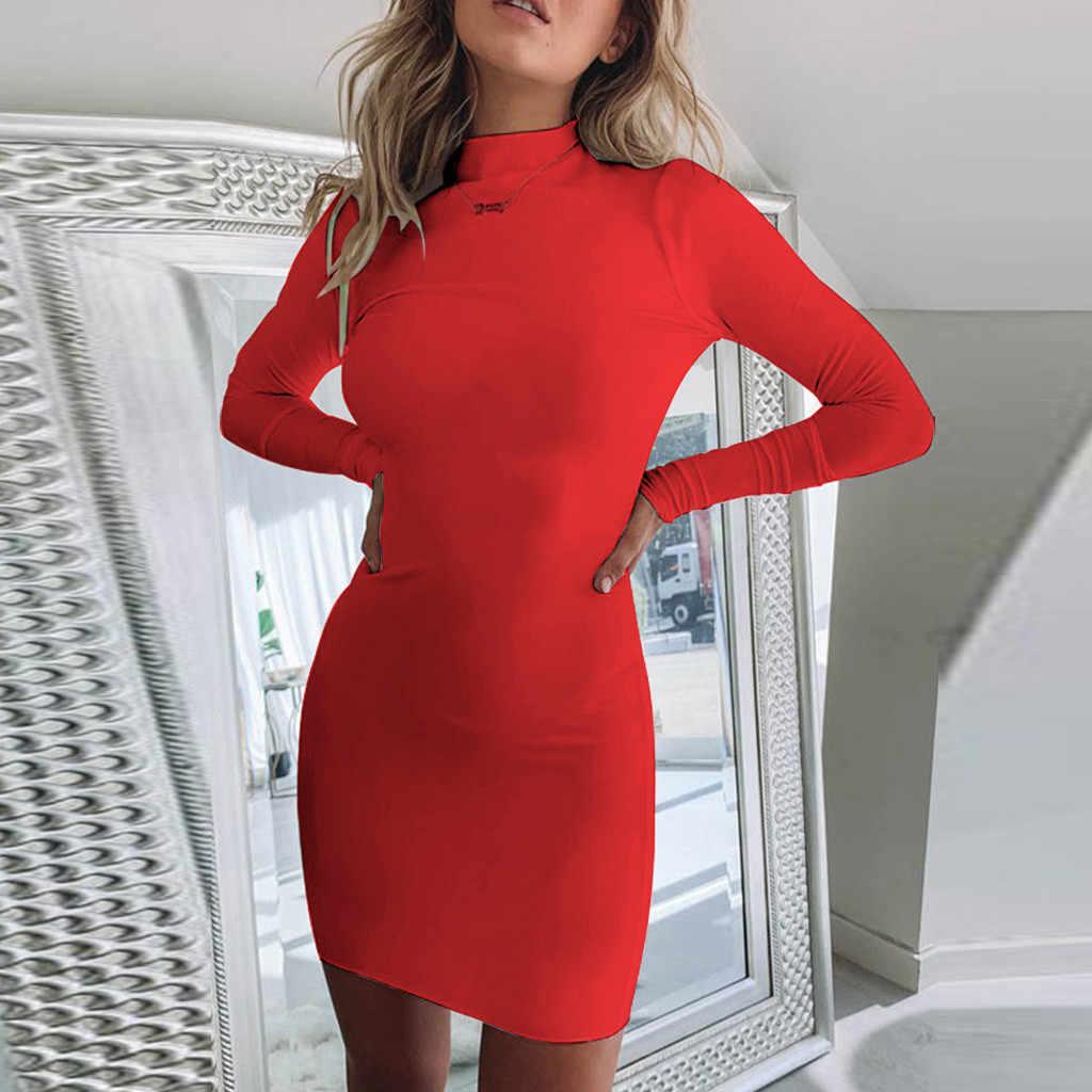 Feitong เดรสผู้หญิงเซ็กซี่ยาวแขนยาว-คอ Hip-ห่อด้วยเปลือยเปล่า vestidos verano 2019 mujer