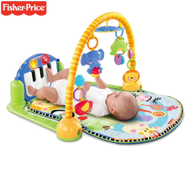 Original Fisher Price Baby Rattles Toys Multifunctional Infant Play Baby Piano Educational Toys Super Soft Bed Crib Hangings