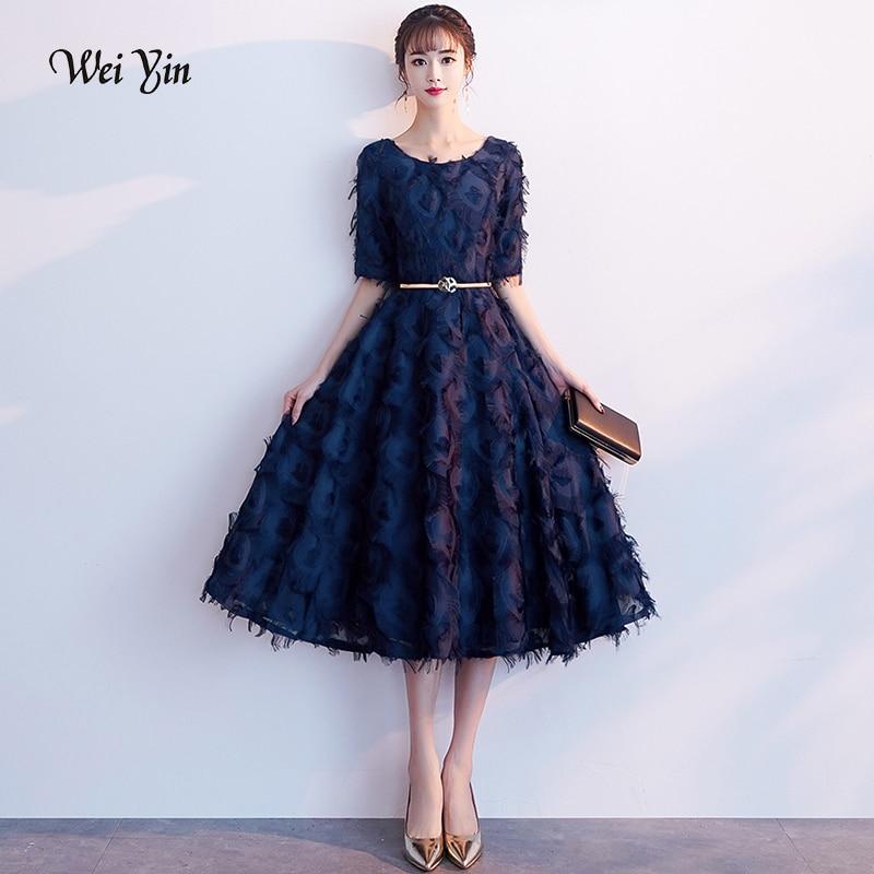 Weiyin Robe De Soriee Navy Blue Evening Dress Lace Half Sleeves A-line Evening Dresses Banquet Party Formal Prom Dress WY1157