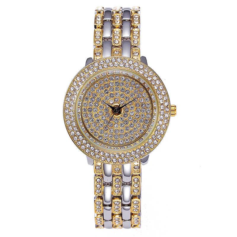 Reloj Bling de MISSFOX para mujer con diamantes de imitación de calidad superior Logotipo de marca famosa Roleingly reloj dorado