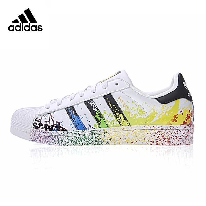 Adidas Clover Superstar Gold Label Men and Women Walking Shoes,White, Non-slip Shock Absorbing Wearable Breathable D70351 men stylish breathable shock absorbing athletic shoes
