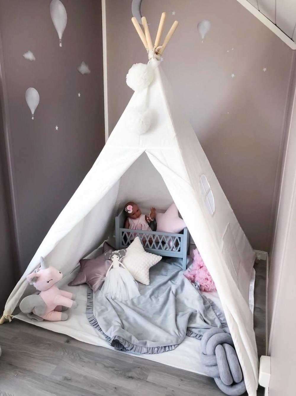 Kinder Tipi Spielen Zelt 100% Baumwolle Leinwand Kinder Tipi Spielhaus Indoor Zimmer Outdoor Spielzeug Jungen Mädchen Baby Geschenk Raw Weiß mit Matte-in Spielzelte aus Spielzeug und Hobbys bei  Gruppe 3
