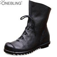 Plus Size Genuine Leather Warm Short Plush Winter Boots 2017 Spring Autumn Fashion Pleated Women Ankle