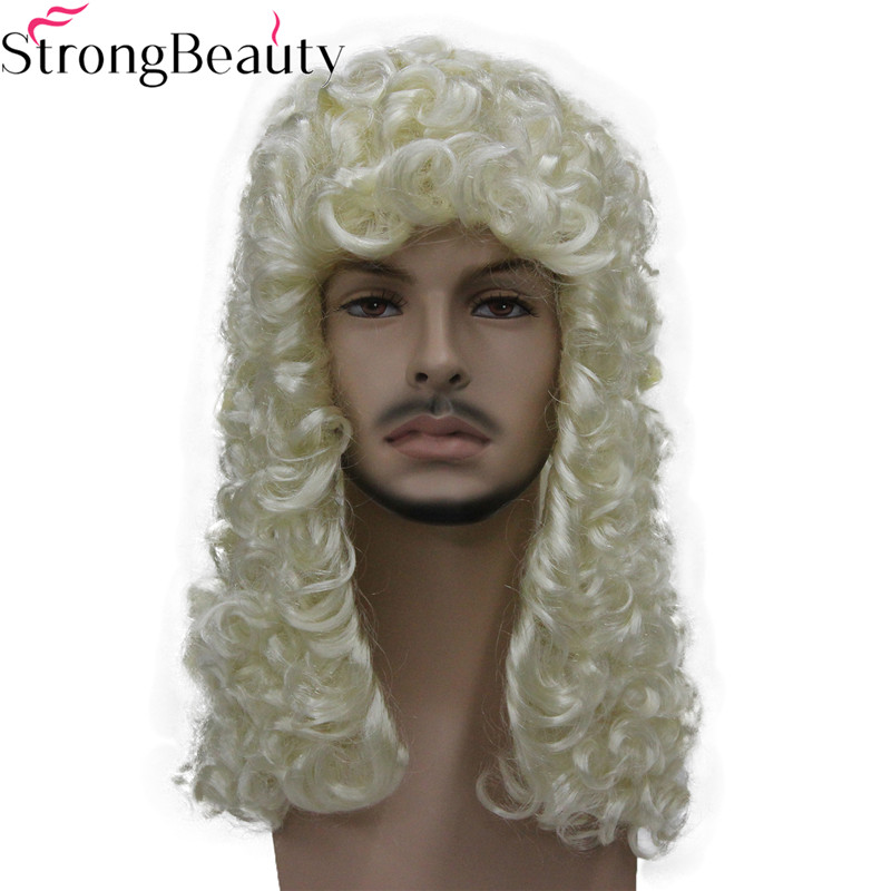 StrongBeauty Synthetic Judge Wig Nobleman Curly Hair Historical Blonde Gray Black Wigs