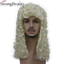 StrongBeauty peluca sintética de Judge, Pelo Rizado Nobleman, pelucas de color rubio, gris y negro