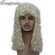 StrongBeauty syntetyczne sędzia peruka szlachcic kręcone włosy historyczne blond szary czarne peruki