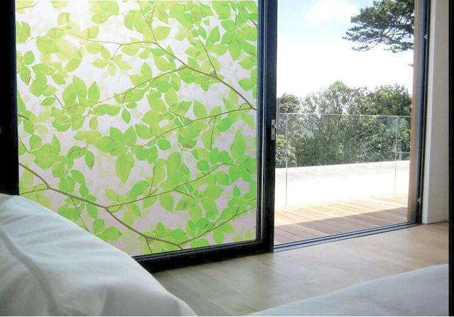 Logful elettrostatica porta scorrevole della cucina foglie verdi