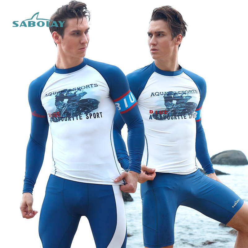 Men Rashguards Tights Long Sleeve Surfing Shirt And Pants Diving Suit Sunscreen Uv Quick Dry Swimwear Protect Jellyfish Swimsuit