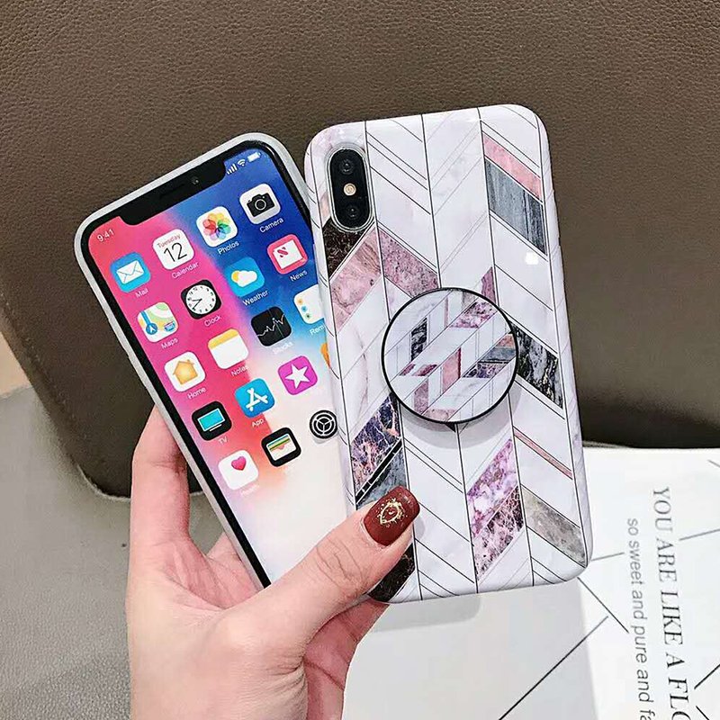 Geometric Marble Pattern Kickstand Phone Case For iPhone XS Max XR X 6 6S 7 8 Plus Fashion IMD Soft Protective Back Cover Coque (1)