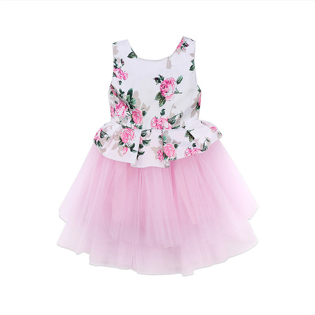 Harga murah Gadis Trend Pakaian terakhir Balita Bayi Perempuan Gaun Putri Floral  Pink Tutu Tulle Gaun e9594afbbb