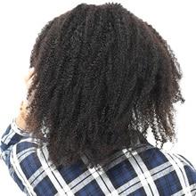 Клип В Пряди человеческих волос для наращивания 4B 4C афро кудрявый бразильский волосы не Реми полной головки 7 шт. Мёд Queen Hair продукты