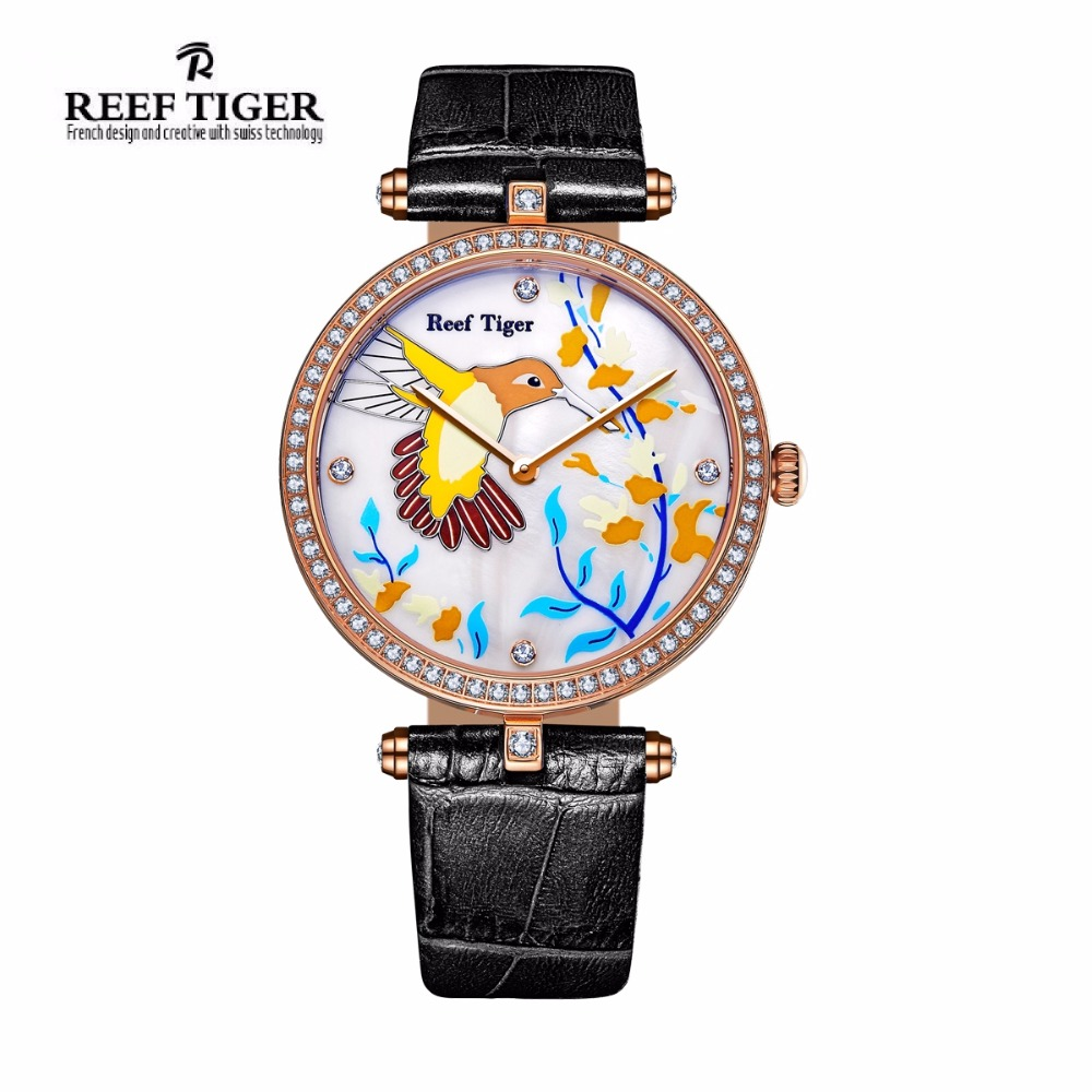 Reef Tiger/RT Womens Watches Diamonds Fashion Casual Watches Quartz Watch Leather Strap Rose Gold Beautiful Watch RGA1562 top brand reef tiger rt watches luxury fashion ladies dress quartz black watch rose gold diamonds watch for women rga172