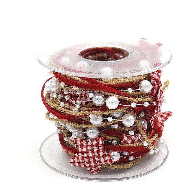 Omilut boże narodzenie dekoracji łańcuch wstążką dekoracje ślubne w kształcie kwiatów jedwabiu Pearl prezent walentynki serce miłość dostaw