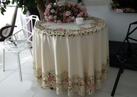 Peach roses series Rural cloth art Chinese embroidery The round table cloth 180*180cm The table cloth Dust cloth