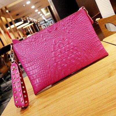 Высококачественный Женский Повседневный клатч, женская сумка-мессенджер из крокодиловой кожи, сумки-клатчи, вечерние сумки, заклепочная рукоять - Цвет: Ярко-розовый