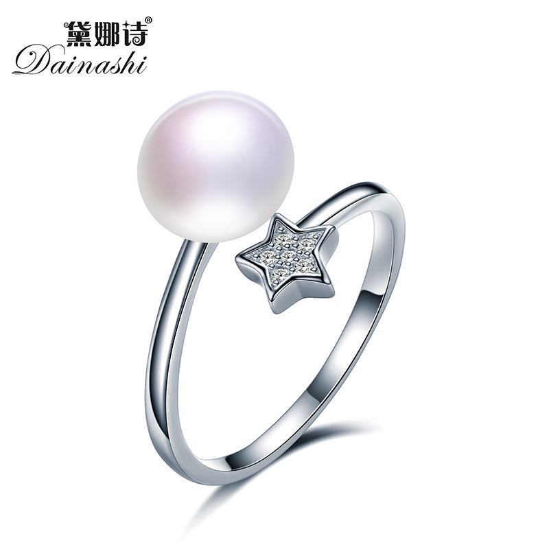 Dainashi Little Star Pearl Rings Zircon Finger Ring AAAA Grade Pearl Brand