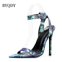 BYQDY Roman Sexy Cut Out Gladiator Sandals Blue Pumps Female Party Stilettos High Heels Zip Zapatos Summer Promotion Big Size