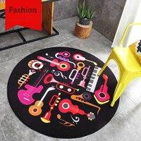 Cartoon Musical Instruments Pattern Black Round Carpet Non Slip Living Room Bedroom Sofa Bedside Rug Home
