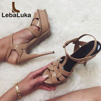 LebaLuka free shipping quality genuine leather high heel sandals women sexy footwear fashion lady shoes R4425 hot sale 33 40
