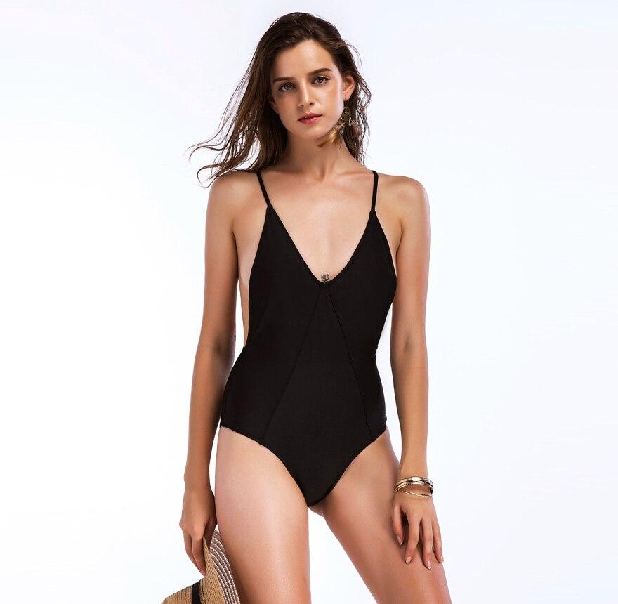 ec458f24ea2b € 11.75 |HIBKN high cut monokini negro traje de baño bañistas floral de una  pieza del traje de baño de gran tamaño sólido traje de baño mujer ...