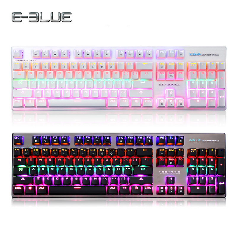 E-3LUE Gaming Wired Mechanical Keyboard 104 Keys Luminous with Blue Red Switch Colorful Backlit for Laptop Gamer Dota 2 new russian ru laptop keyboard for lenovo ideapad u530 palmrest keyboard bezel cover touchpad with backlit 90204072 black