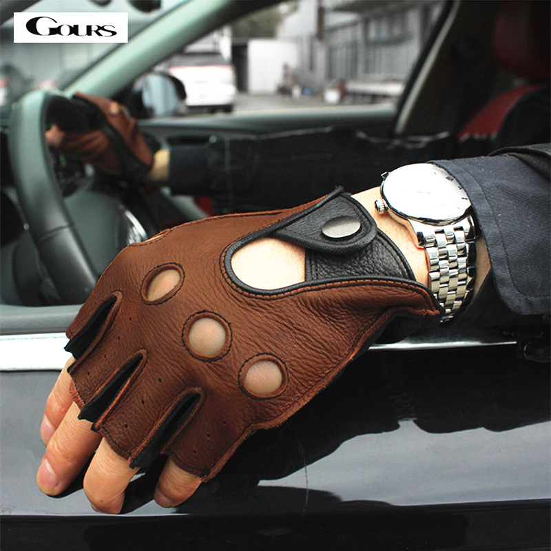 Gours Spring Men's Genuine Leather Gloves Driving Unlined 100% Deerskin Half Fingerless Gloves Fingerless Fitness Gloves GSM046L(China)