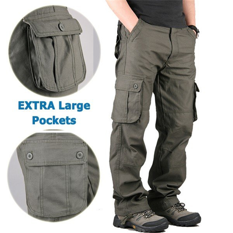 Mens Leisure Multi Pocket Cargo Pants Cotton Trousers Men Male Baggy Military Camouflage Tactical Long Trousers 30-44 Plus Size