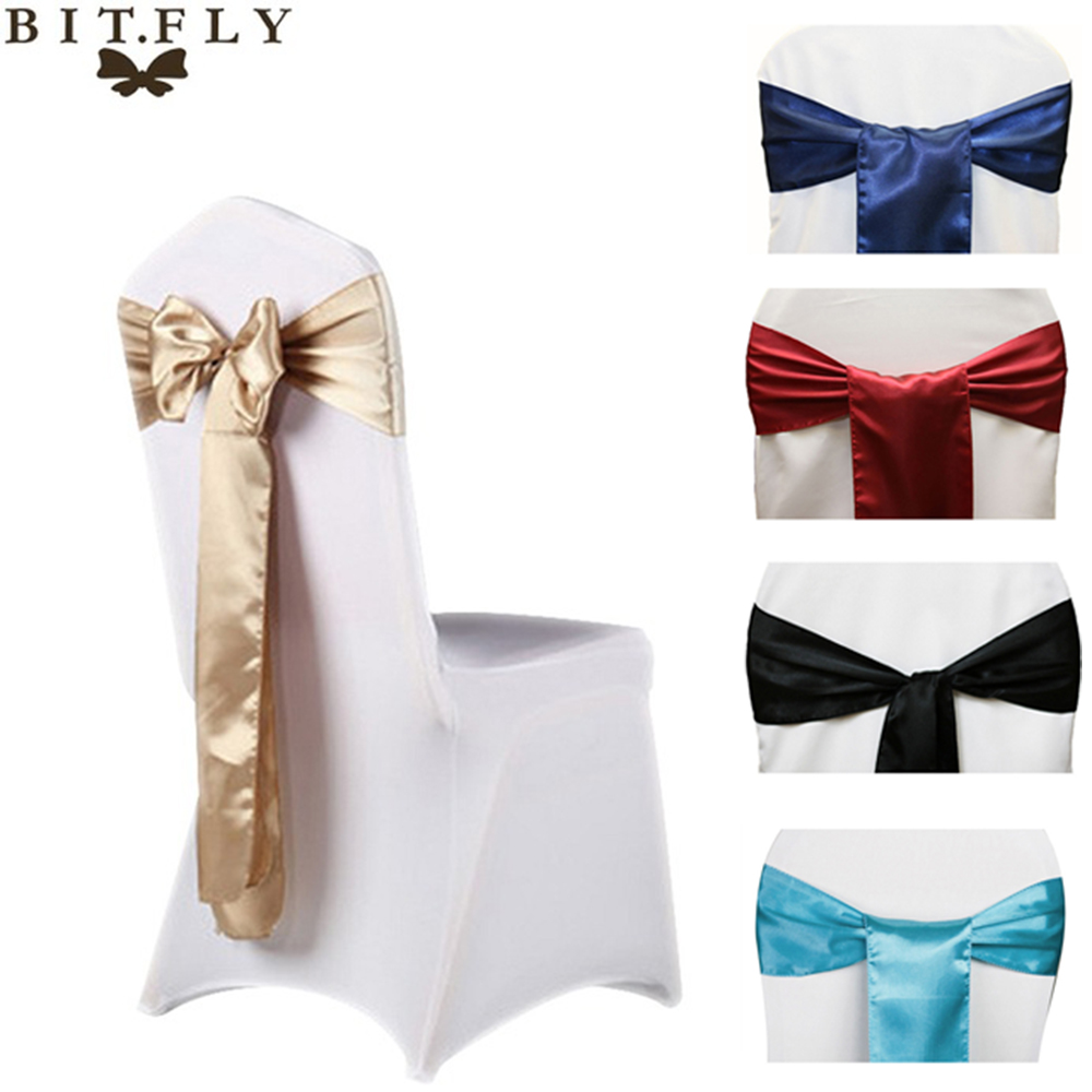 BIT.FLY 6x108inch Satin Fabric Chair Sashes Bow Cover For Wedding Chairs Knot Sash Party Banquet Event Celebration Decorations