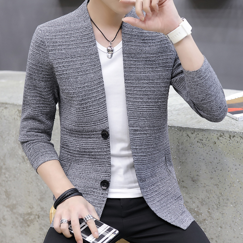 HOO  2021 knitting cardigan male v-neck outer wear in the spring and autumn light fashion handsome recreational sweater 2