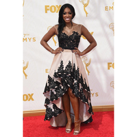 Amazing Black Lace Champagne Satin Celebrity Dresses High Low Porsha William Red Carpet Dresses 67th Emmy Awards Party Dresses