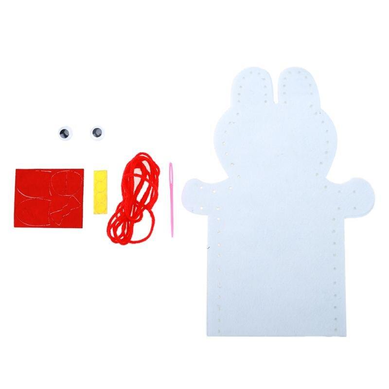 Детские развивающие игрушки головоломки DIY ремесла нетканые ткань животных стороны марионеточных дети ребенок Вышивание Игрушечные лошад...