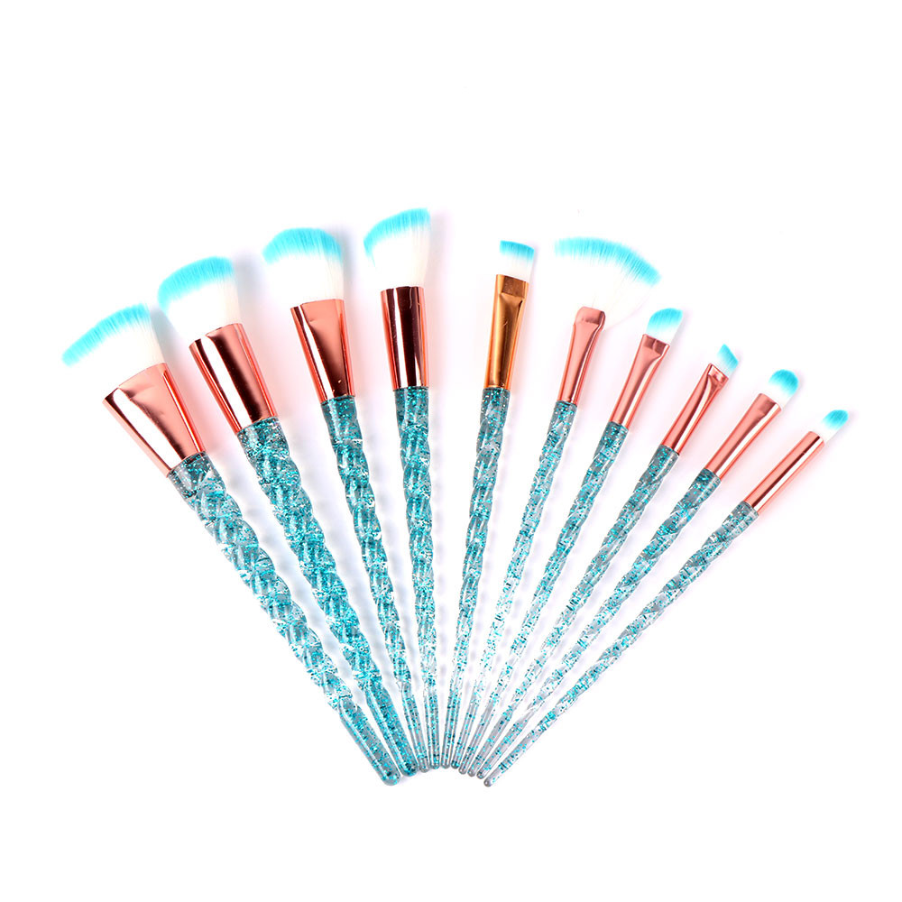 10pcs Unicorn Makeup Brushes Set Cosmetic Brush Crystal Spiral Eye Shadow Eyeliner Eyelash Powder Make Up Tool Pincel Maquiagem